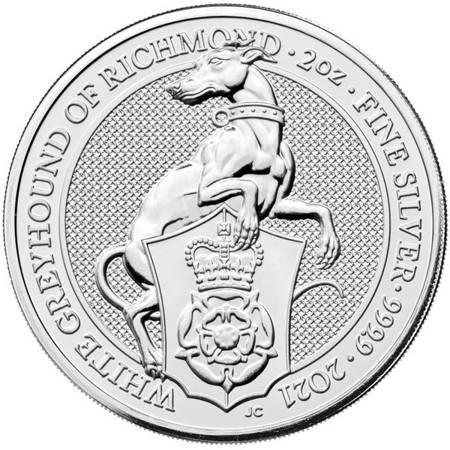 Srebrna Moneta Bestie Królowej: Biały Chart z Richmond 2 uncje 24h