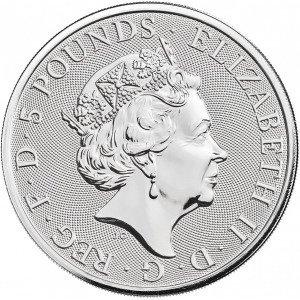 Srebrna Moneta Bestie Królowej: Biały Lew Mortimerów 2 uncje