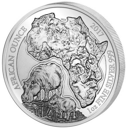 Srebrna Moneta Hippopotamus - African Ounce 1 uncja 2017r 24h