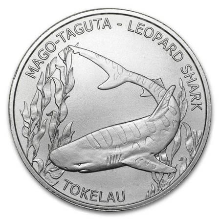 Srebrna Moneta Leopard Shark - Tokelau 1 uncja 2018r 24h