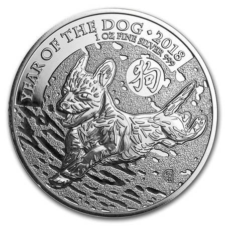 Srebrna Moneta Rok Psa (Wielka Brytania) 1 uncja 2018r 24h