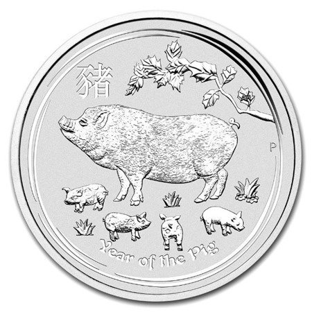 Srebrna Moneta Rok Świni 2 uncje 24h