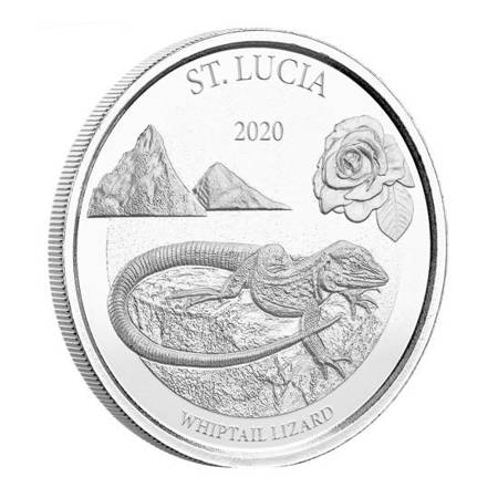 Srebrna Moneta St. Lucia - Jaszczurka Whiptail 1 uncja 24h
