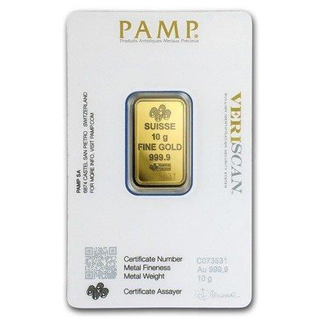 Sztabka Złota PAMP CertiCard 10g 24h