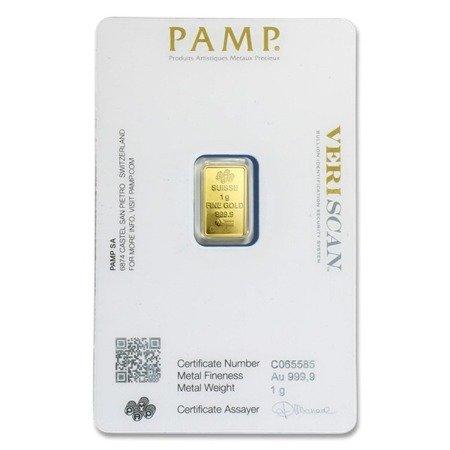 Sztabka Złota PAMP CertiCard 1g 24h