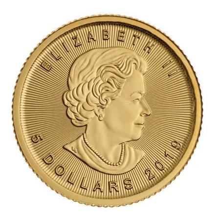 Złota Moneta Kanadyjski Liść Klonowy 1/10 uncji
