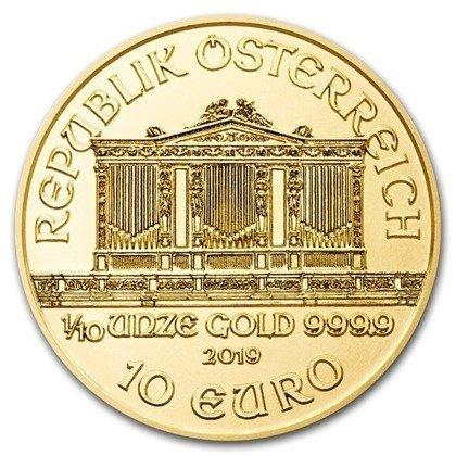 Złota Moneta Wiedeński Filharmonik 1/10 uncji 24h